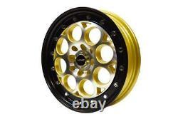 VMS Racing Front Or Rear Gold Revolver Drag Wheel Rim Set 15x3.5 4X100/4X114 -x2