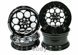 VMS Racing Front & Rear Black Milling Drag Wheel Rim Set 15x3.5 15x8 4X100/4X114
