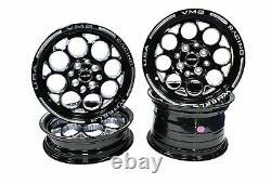 VMS Racing Front & Rear Black Modulo Drag Wheel Rim Set 15x3.5 15x7 4X100/4X114