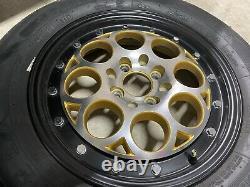 VMS Racing Front & Rear Gold Revolver Drag Wheel Rim Set 15x3.5 13x8 4X100/4X114