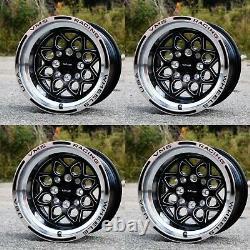 VMS Rocket 15X8 Drag Racing Rims Wheels 4X100 4X114 ET20 Set of Four