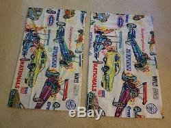 Vintage NHRA drag race sleeping bag and twin sheet set