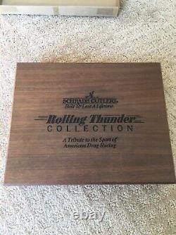 Vintage Schrade USA 1992 Rolling Thunder Drag Racing Scrimshaw Knife Set