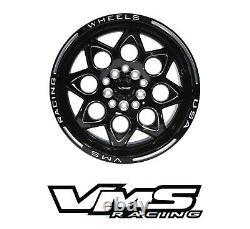 Vms Racing Rocket Black Front & Rear Drag Wheels Set 4x100/4x114 15x8