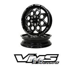 Vms Racing Rocket Black Silver Front & Rear Drag Wheels Set 4x100/4x114 13x9