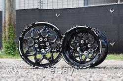 Vms Racing Rocket Black Silver Front & Rear Drag Wheels Set 4x100/4x114 15x8