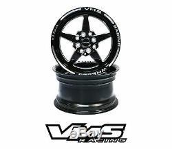 X2 VMS RACING STAR 5 SPOKE BLACK SILVER DRAG WHEELS SET 4X100/4X108 15x8