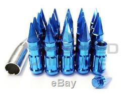 Z Racing Blue Drag Spike Steel Lug Nuts Set 12x1.25 Tuner 20 Pcs Key Subaru Aa