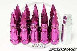 Z Racing Pink Drag Spike Open Extended Steel 12x1.5mm Lug Nuts Set 20 Pcs Key