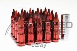Z Racing Red Drag Spike Steel Lug Nuts Set 12x1.25 Tuner 20 Pcs Subaru Key