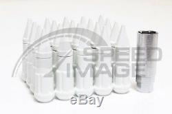 Z Racing White Drag Spike Open Extended Steel 12x1.5mm Lug Nuts Set 20 Pcs Key