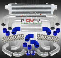 12pc Turbo Piping Kit + Barre Et Plaque Intercooler Ensemble Blue Coupler+t-bolt Clamps