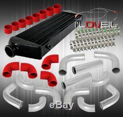 12pcs 2.5 Tuyauterie En Aluminium Kit + Fmic Frontale Intercooler Noir + Coupler Rouge