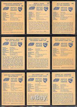 1971 Fleer Ahra Officiel Drag Champs Du Canada Carte Partielle De Lot Près Set 55/63