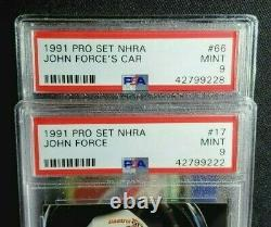 (2) 1991 Pro Set Nhra John Force Rookie Card Lot Rc Psa 9 Mint Drag Racing Goat