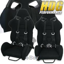2x Racing Tissu Noir Sièges Baquets De Course + Paire 4pts Noir Camlock Set Seatbelt
