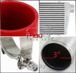 3 Intercooliseur D'entrée/sortie + Kit De Tuyauterie En Aluminium 12pc + Coupleur Rouge + Pinces