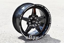 4 15x8 Vms Racing Star 5 Spoke Noir Drag Jantes Roues Set Pour Acura Rsx Et20
