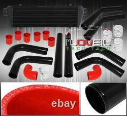 Aluminium Turbo 28 Frontale Intercooler Avec 8pcs Diy 64mm Piping Set Noir