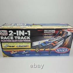Auto World 2-in-1 Race Track Slot Car Set Nhra Nascar Aw Drag Race Stock Car