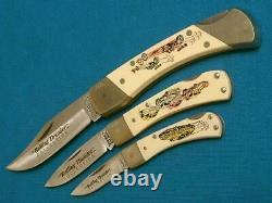 Couteau Couteaux Set Rare Vintage Schrade États-unis Roulement Drag Racing De Thunder Scrimshaw