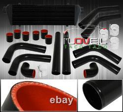 Fin Tube Fmic Front Mount Turbo Intercooler + Kit De Tuyauterie En Aluminium Noir + Tuyaux