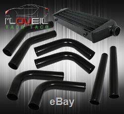 Fin Tube Fmic Frontale Turbo Intercooler + Tuyauterie En Aluminium Noir Kit + Tuyaux