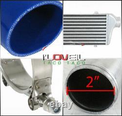Haute Qualité Performance Front Mount Intercooler + Blue Couplers + 8 Pcs Tuyauterie
