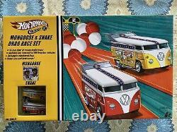 Hot Wheels Mongoose And Snake Drag Race Set (2) Véhicules Vw Drag Bus Personnalisés