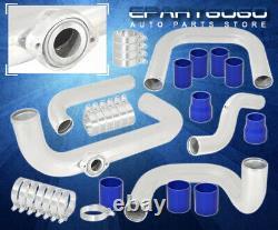 Pour 90-93 Integra Da Polonais Turbo Aluminium Piping Kit Blue Couplers Bov Adaptateur