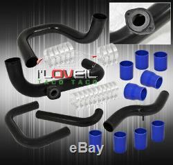 Pour 90-93 Integra Ls Gs Série B Tuyauterie En Aluminium Turbo Noir Kit Rs / S Bov Adap