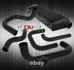 Pour 92-95 CIVIC Fmic Intercooler + Turbo Piping Kit + Black Coupler Tbolt Clamps
