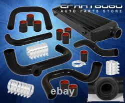 Pour 92-95 CIVIC Jdm Aluminium Sqv Bov Adaptateur Flange Piping Kit Black Intercooler