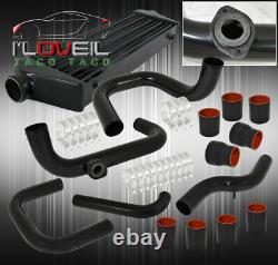 Pour 93-97 Del Sol Turbo Intercooler + Kit De Tuyauterie Avec Couplers Noirs Bov Flange+