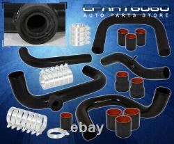 Pour 96-00 CIVIC D16 B16 Black Turbo Intercooler Piping Kit Flange Black Coupler