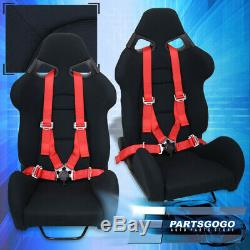 Tissu En Fibre De Verre 2x Sièges Noir Racing Bucket + 4 Points Camlock Set Red Seatbelt