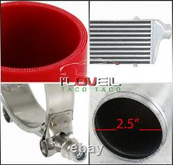 Universal 2.5 Bar / Plate Intercooler Diy Piping Kit With Red Silicone Copulers