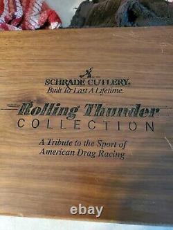 Vintage Schrade USA 1992 Ensemble De Couteau Rolling Thunder Drag Racing Scrimshaw
