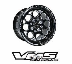 Vms Racing Modulo Noir Argent Avant Et Arriere Drag Set De Roues 4x100 / 4x114 13x8