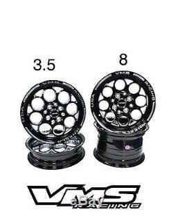 Vms Racing Modulo Noir Argent Avant Et Arriere Drag Set De Roues 4x100 / 4x114 15x8