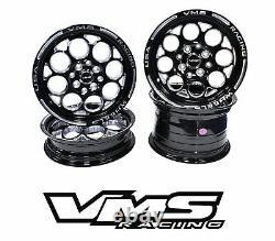 Vms Racing Modulo Noir Argent Avant Et Arrière Roues De Traînée Ensemble 5x100/5x114 13x8