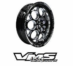 Vms Racing Noir Poli Avant Et Arriere Drag Set De Roues 4x100 / 4x114 15x8