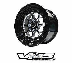 Vms Racing Revolver Noir Avant Et Arrière Modulo Drag Wheels Set 4x100/4x114 15x8