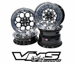Vms Racing Revolver Noir Poli Avant Et Arriere Drag Set De Roues 4x100 / 4x114 13x8