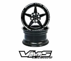 Vms Racing Star Noir Argent Avant Et Arriere Drag Set De Roues 4x100 / 4x108 15x8