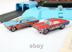 Vtg 1968 Arrêt! Plymouth Super Stock Racing Set Slot Voiture Drag Strip Travailler