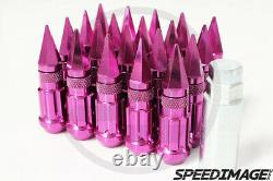Z Racing Pink Drag Spike Extended Steel Lug Nuts Open Set 20 Pcs Key 12x1.5mm